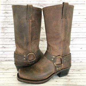 Frye 12R Moto Style Harness Boots Brown Leather